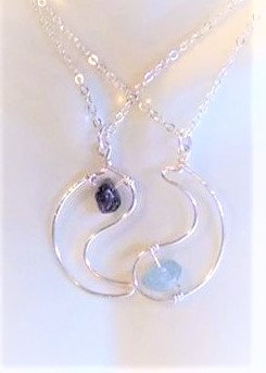 yin yang  necklace set, birthstones, girlfriend gift, mother gift