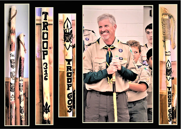 Troop leader gift,scout leader,retirement,hiking stick,walking,anniversary gift