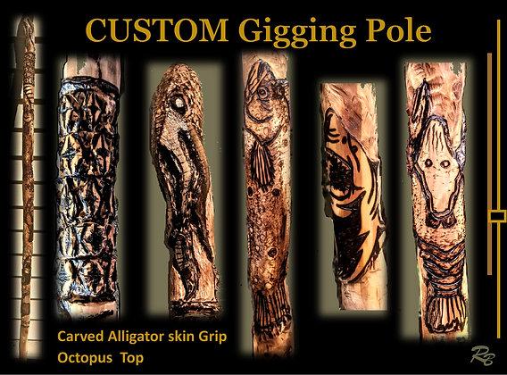 custom flounder gigging pole, carved, wood