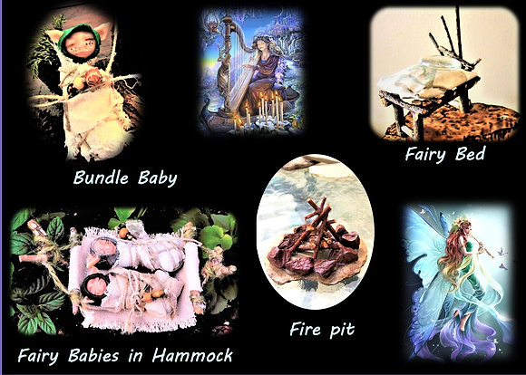 fairy items, accessories, fairy garden, lute, harp, fairy bench,fire pit,fairy