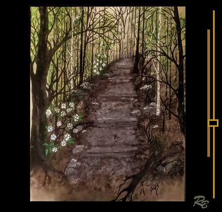Painting, hiking path, forest, hiker gift