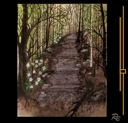 hiker gift, hiking path, painting, hiking trails, landscape art, nature Art
