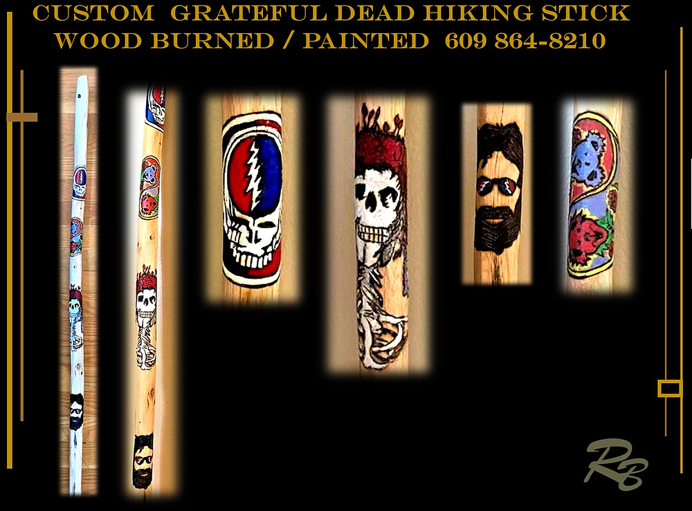 One of a kind, Grateful Dead hiking stick, hand created for you with your choice of images and words