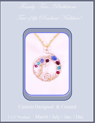 family birthstones,tree,life, necklace,wife gift,mother,daughter, gift,t