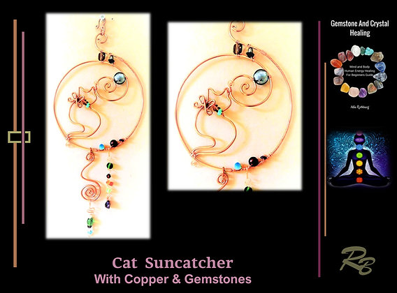 Cat, suncatcher, garden decoration, copper,gemstones,mother,gif