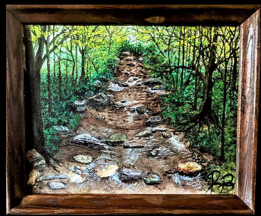 creek painting, forest painting,  landscape  painting, nature Art