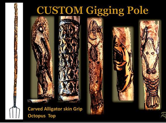 flounder gigging pole, custom gigging pole, wood, gig