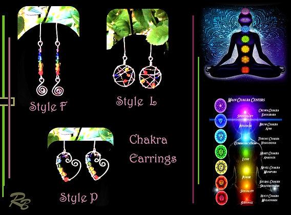 chakra earrings, chakras, reiki, chakra jewelry