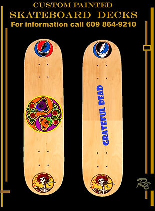 Gratful dead, gifts, Skateboard, decks, painted, design, cool, personalized
