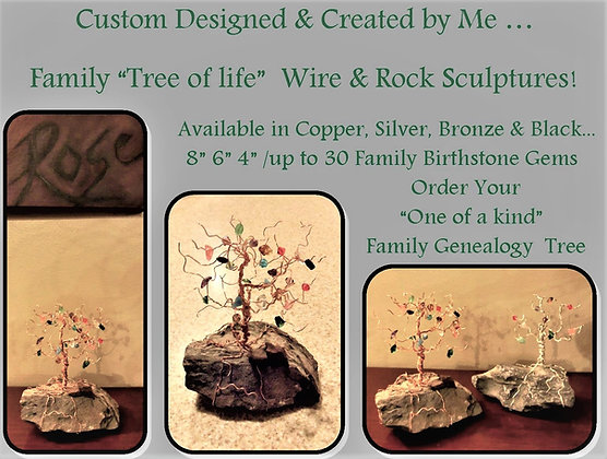 Family tree, birthstones, wire tree, tree of life, tree sculpture,nature