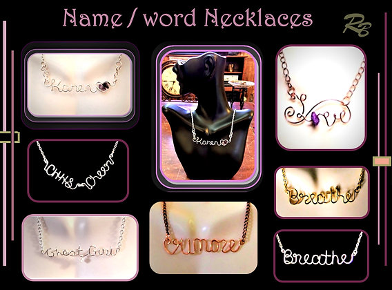 script necklace, name necklace,  Name Jewelry, Breathe necklace