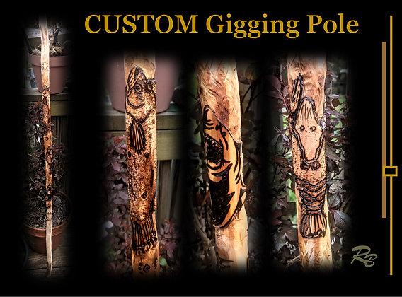 custom, gigging pole, stick, flounder gigging, frog gigging