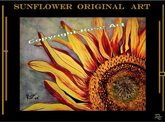 Sunflower, watercolor,origianl, sunflower painting