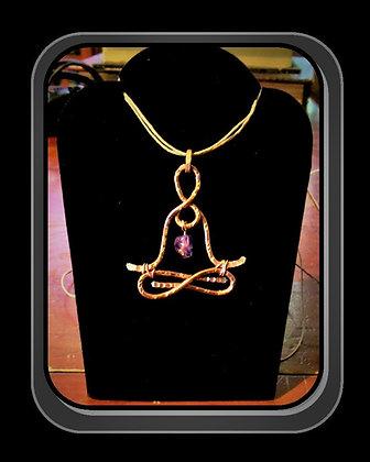 lotus pose copper necklace, yoga, jewelry, lotus pose necklace, jade