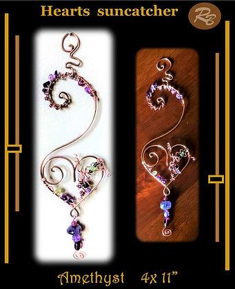 Amethyst, Heart, suncatcher, garden decoration,opper,gemstones,mother,wife,dua