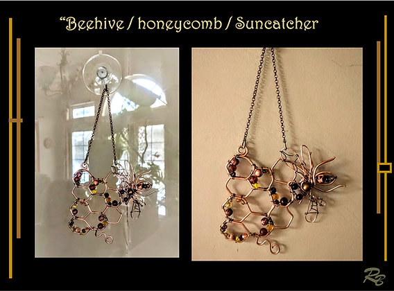 wire wrapped jewelry,bee keeper, gift, honeycomb, honey bee,