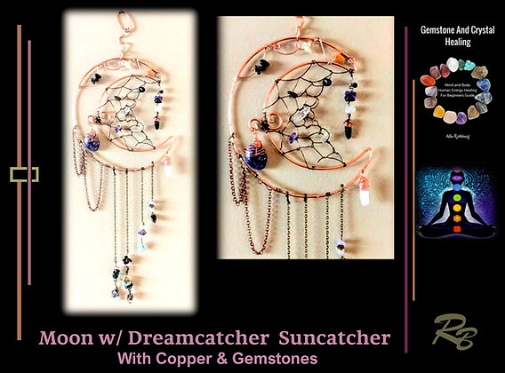 Celestial,Moon, sun catcher,Lotus flower ,dragonfly,gift,wife,mother, hummingbir