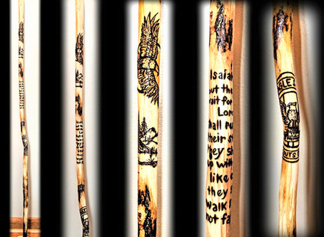 "Unique ""One of a Kind"" Hiking sticks/Walking sticks, custom creations w/ your design Ideas!"