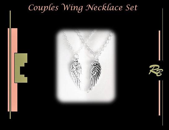 angel wing necklace set, boyfriend, gift,girlfriend, couples Jewelry,