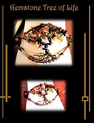 wire wrapped bracelet, tree of life, gemstone, amber, onyx,adventuringe, copp
