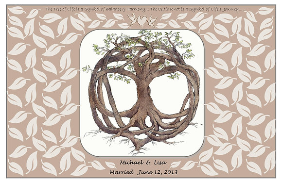 Celtic, tree of life, wedding, guest book, alternative, signature, art