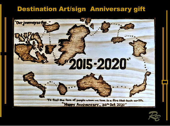 Destination sign, anniversary gift, wood, five year, art,