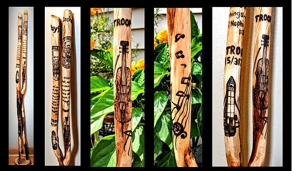 walking stick,hiking stick, chello, wood anniversary, retirement gift,troop l