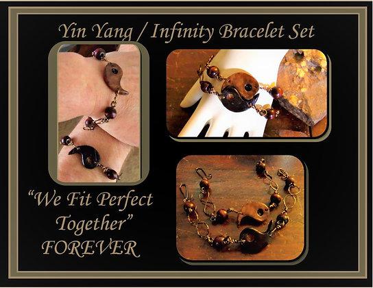yin yang bracelet, set, necklace, set,  girlfriend gift, mother gift