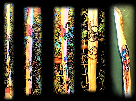 retiement gift,  hiking sticks. wood ,custom, personalized, any image, an