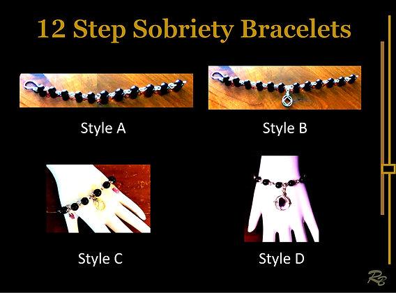 12 step beaded bracelet, twelve step bracelet, sobriety bracelet, sobriety
