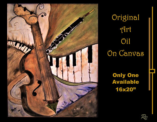Music Art, gift, muscian gift, Oil on canvas, one of a kind