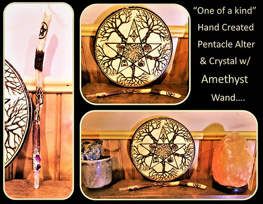 magic wand, amethyst, crystal,wicca, jewelry, necklace, pentagram, pentacle