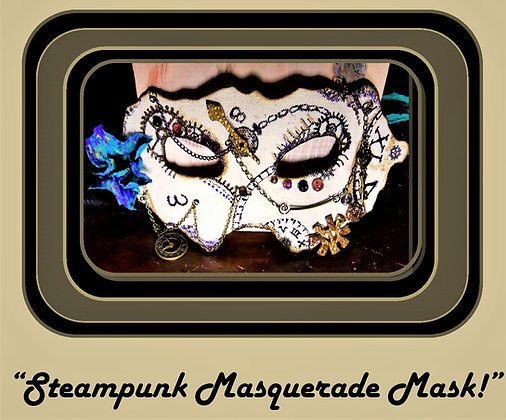 steampunk mask, Steampunk wedding, necklace,Clock,Ste