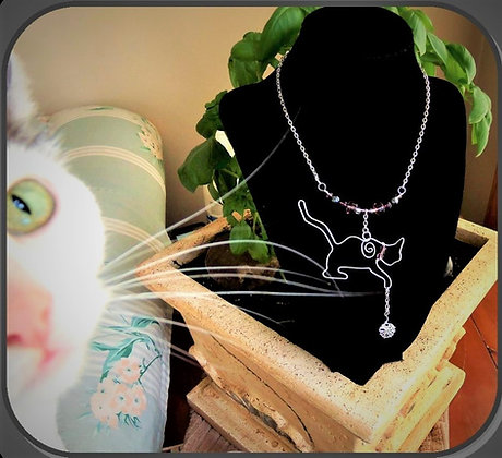 cat necklace, cat lovers gift, puppy lovers gift,paw jewelry