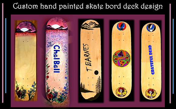 Custom, Skateboard, decks, painted, design, cool, personalized