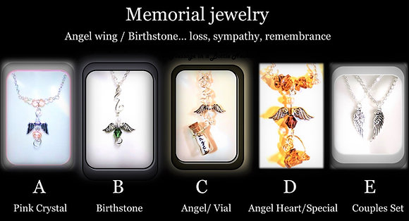 angel necklace, Loss, bereavement, memorial, sympathy, mother gift, birthstone,