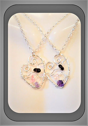 Heart necklace,Valentines gift, family birthstones,wife gift,mother gift
