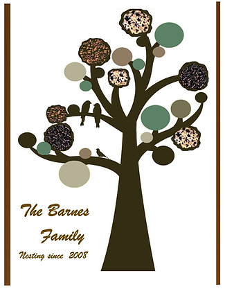 mother gift, wife gift,family gift, Family Tree, 8x10 print,personalized,