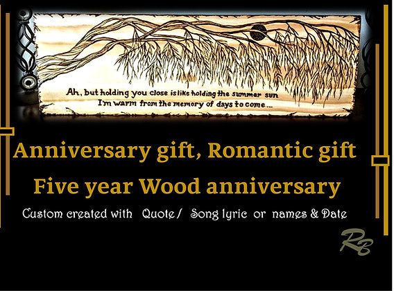 wood anniversary gift, five year anniversary gift, wood signs, Custom