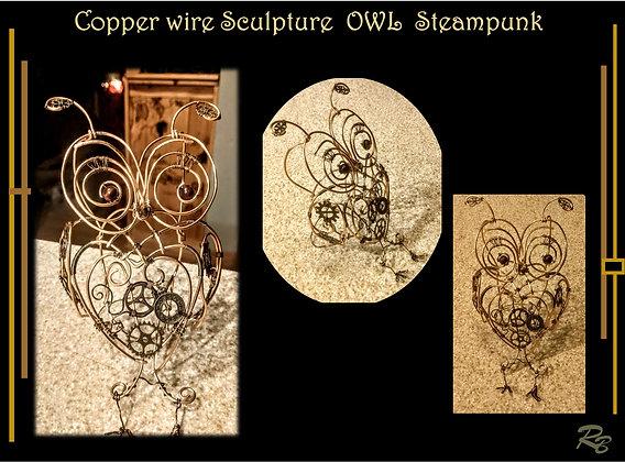 Steampunk Owl, Copper, wire sculpture