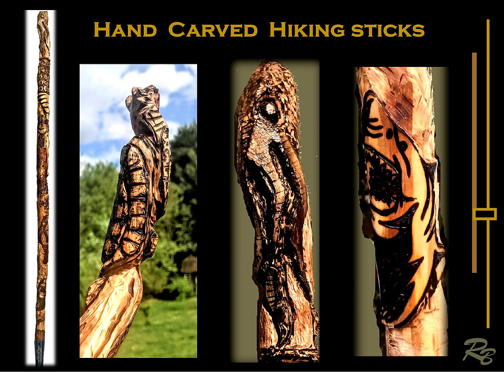 Hand carved hiking and walking sticks