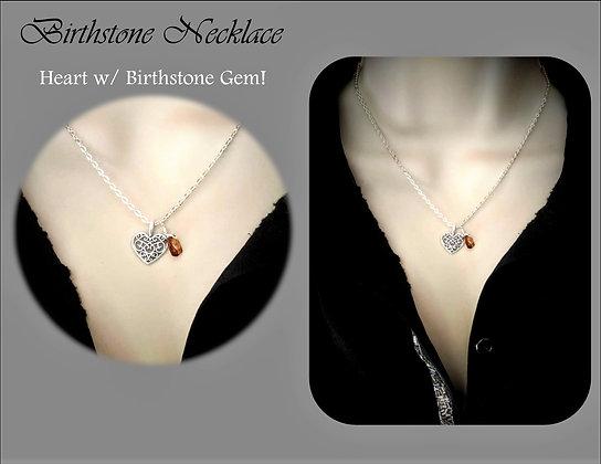 birthstone necklace, heart, necklace, birthstone