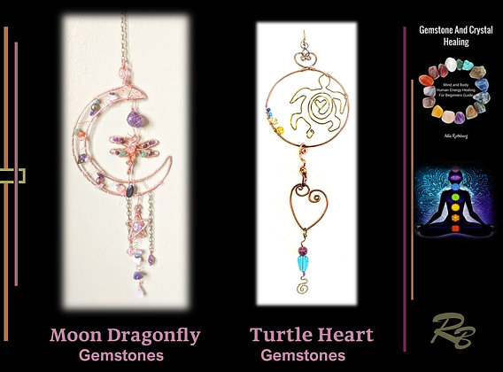 Moon, Dragonfly, sun catcher dragonfly,gift,wife,mother, hummingbird, garde