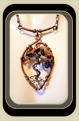 tree of life, healing, gemstone necklace, amber, onyx,adventuringe, copper