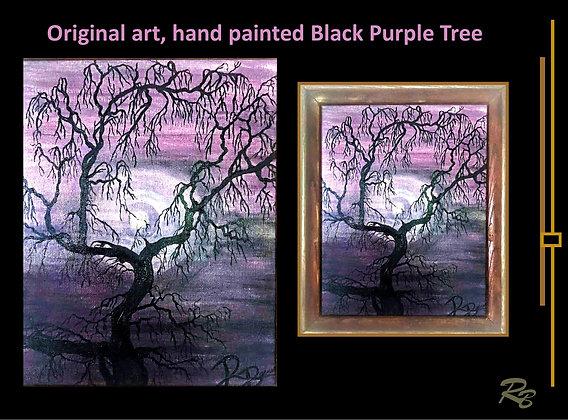 Purple, black, tree painting, Original painting, zen art,