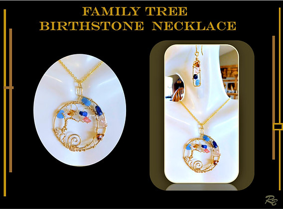Family Birthstone  necklace, gemstone necklace,family birthstne ge
