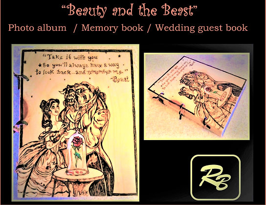 Beauty and the beast, gift, photo album, mother gift, wood book,