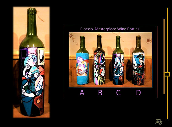 Picasso, art, painted wine bottles