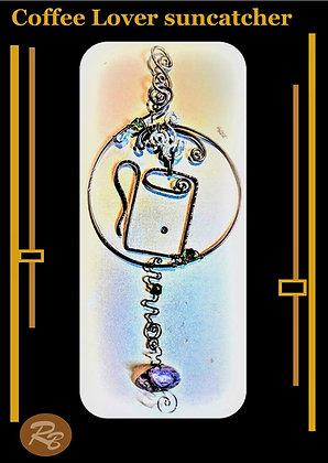 coffee gifts, suncatcher, garden decoration,nursery,copper,gemstones,mother,wif
