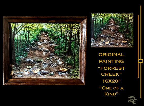 creek, forrest, hiking trails, landscape art, painting, nature Art